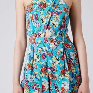 Top shop baby blue and flowered romper